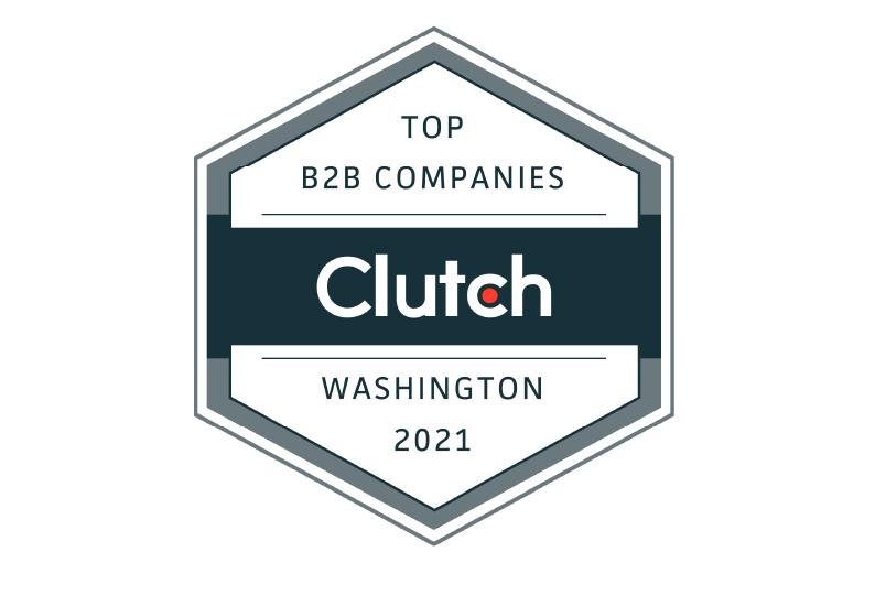 Clutch award for top B2B company in Washington State 2021 to AI Dynamics